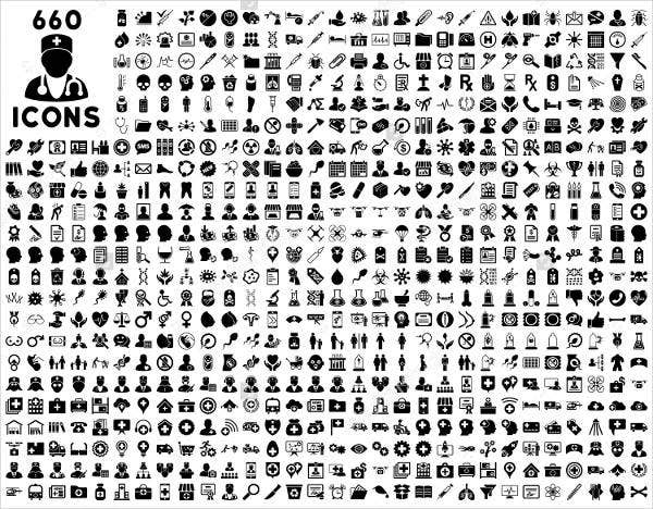 660 Black and white Medical Icons