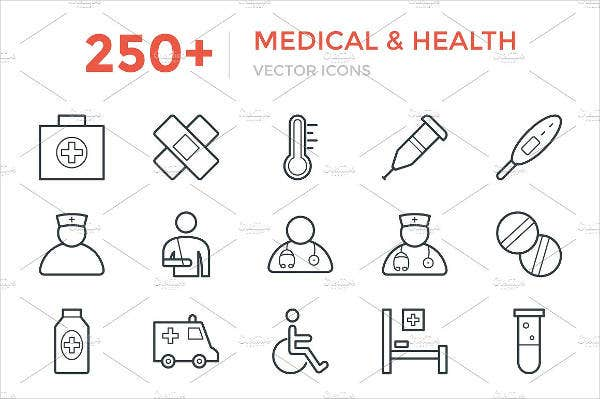 250+ Vector Medical Line Icons