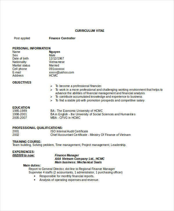 free finance resume templates automotive manager executive format controller template