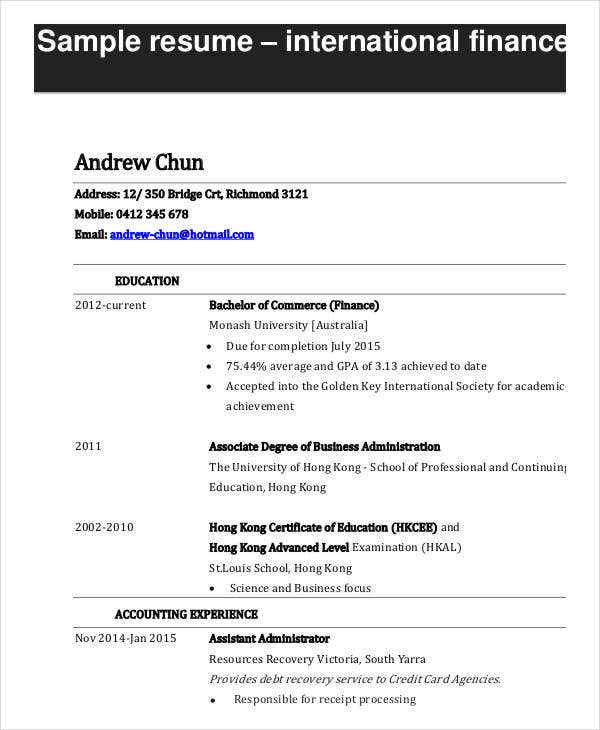 10 Finance Resume Templates PDF DOC