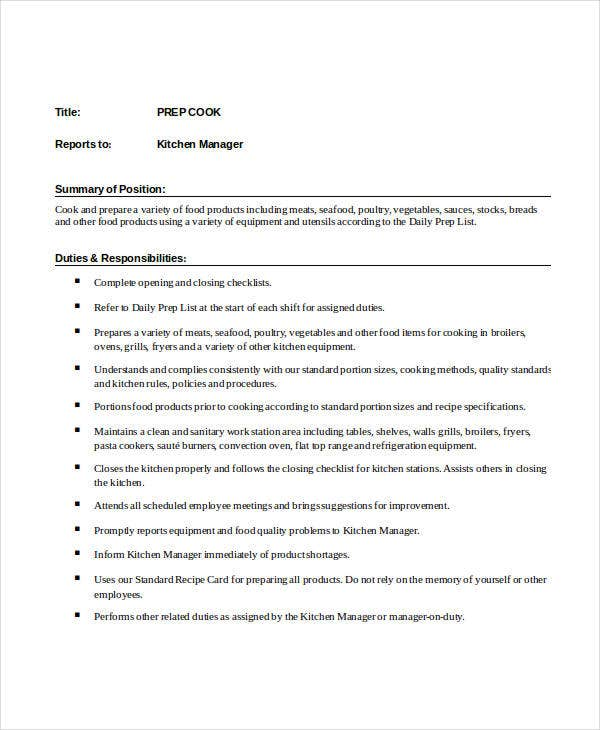 Prep Cook Job Description