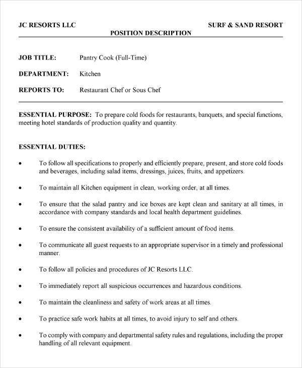 9+ Cook Job Description Template - 9+ Free Pdf Documents Download