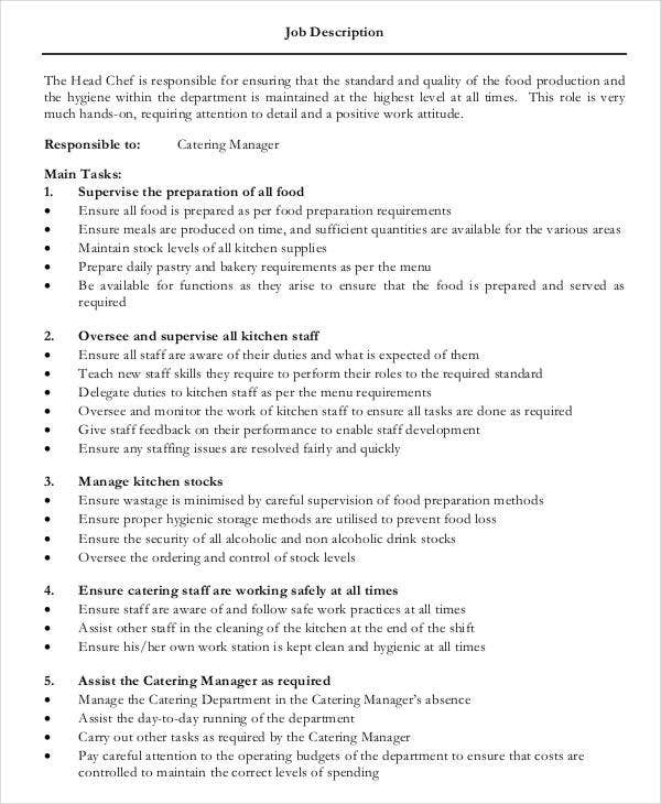 Cook Job Description Template   Free Pdf Documents Download