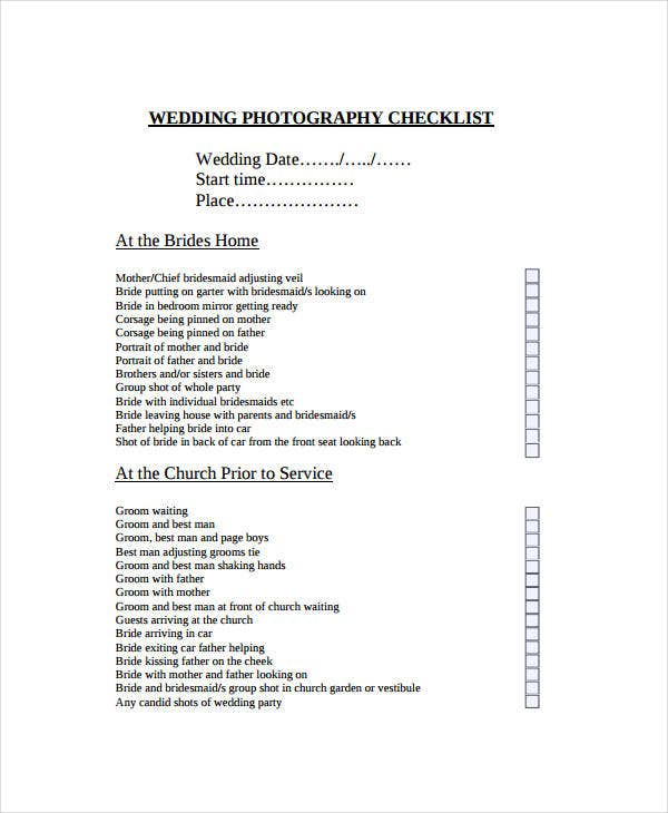 wedding day photography checklist