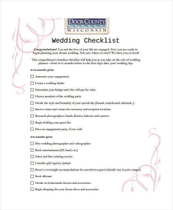 wedding day checklist 10 free pdf word documents download free