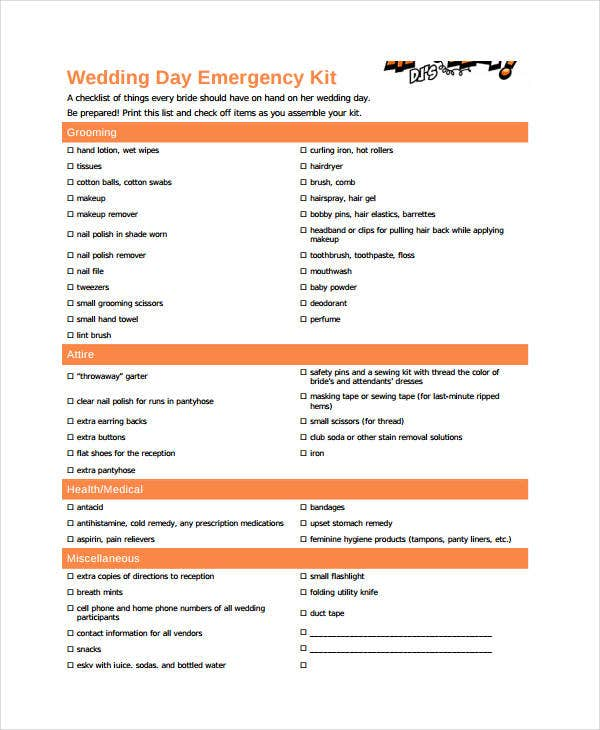 wedding day emergency checklist