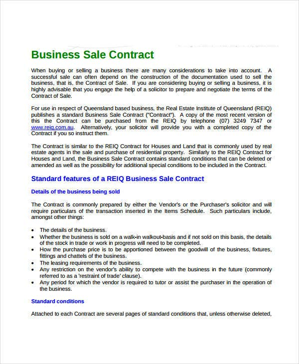 Nice Sale Of Business Contract Template Idea