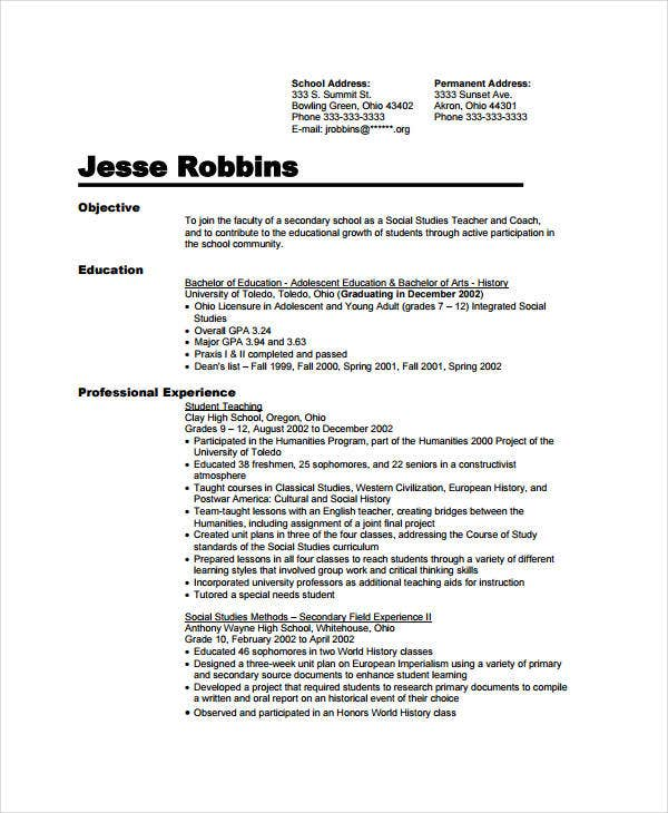 Preschool Assistant Teacher Resume  Social Studies Teacher Resume