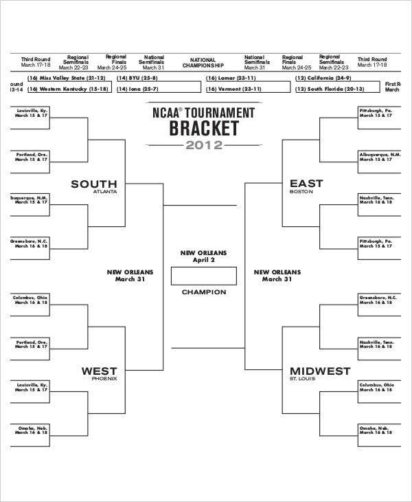 blank college basketball tournament brackets