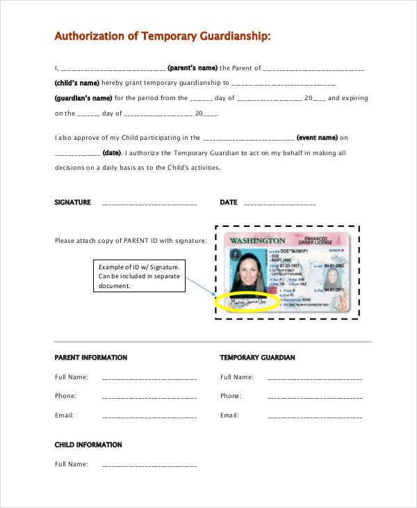 image regarding Free Printable Temporary Guardianship Form titled Guardianship Types - 9+ No cost PDF, Term Cost-free High quality