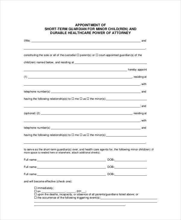 Guardianship forms 9 free pdf word free premium for Naming a guardian for your child template