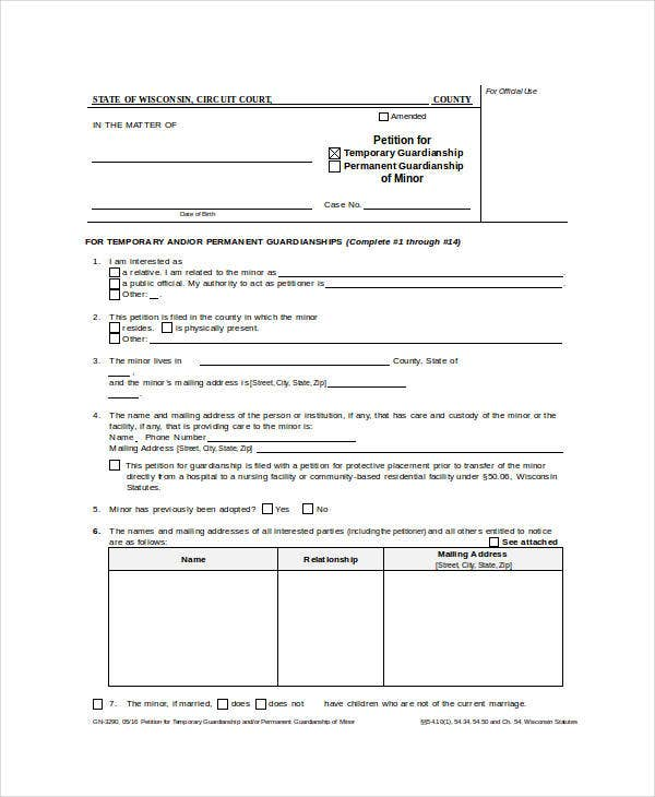 guardianship petition form
