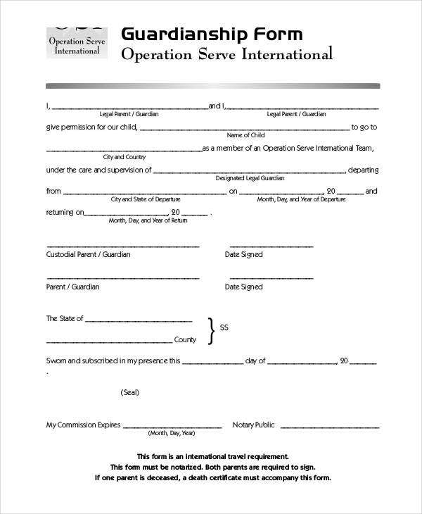 guardianship form sample