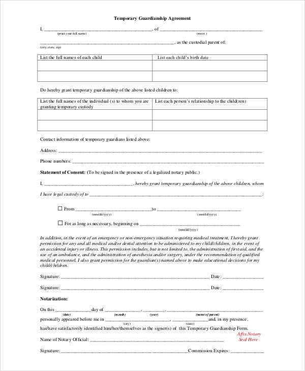 Free Printable Temporary Guardianship Form  CanelovssmithliveCo