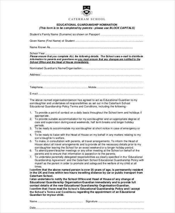 Guardianship Letter In Case Of Death.Guardianship Forms 9 Free Pdf Word Free Premium