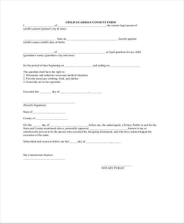 child guardianship form
