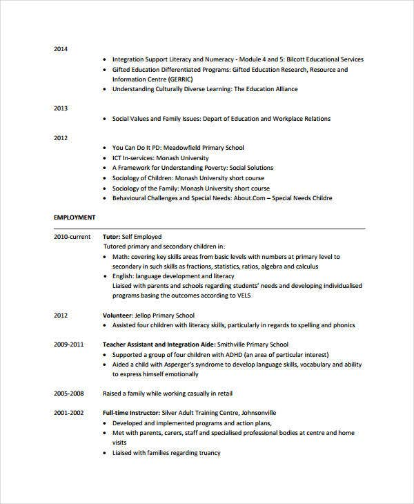 9  teacher assistant resume templates