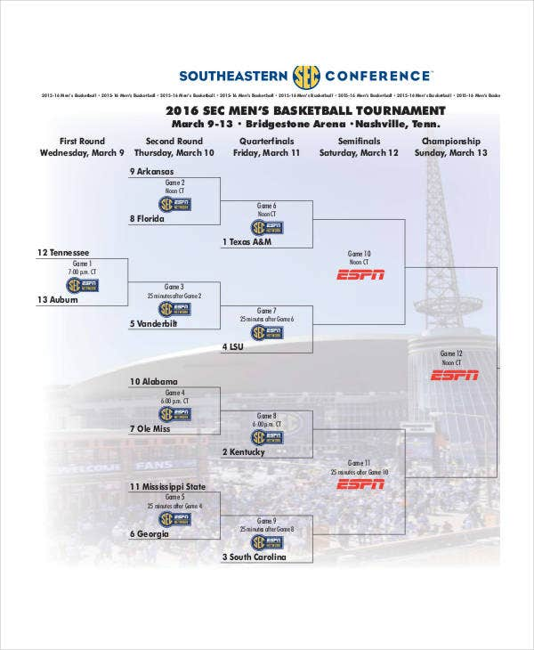 sample basketball tournament bracket