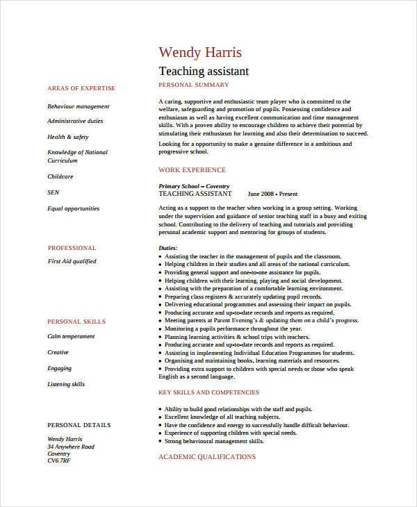 resume examples for teachers assistant