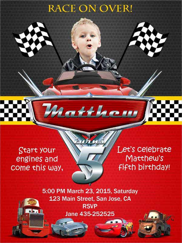 birthday invitation with cars