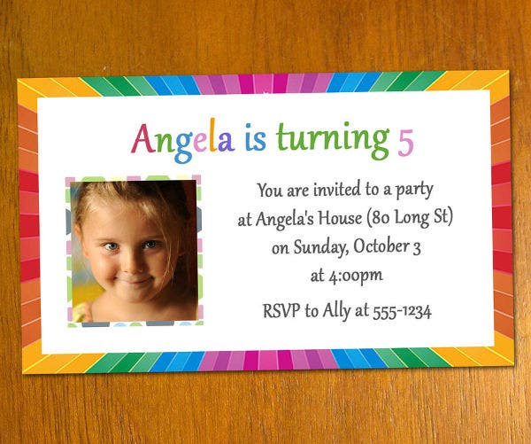 Free 5th Printable Birthday Invitation