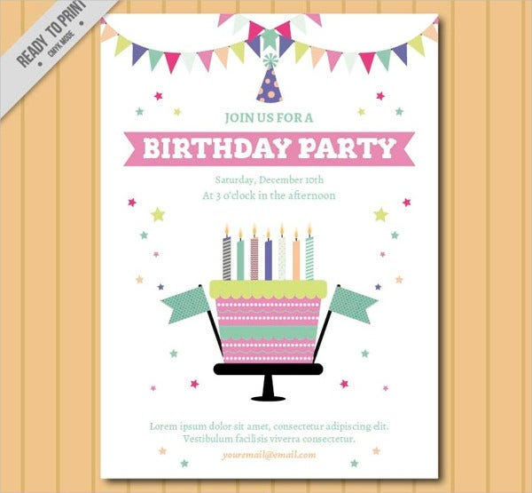 Free Printable Flat Birthday Invitation