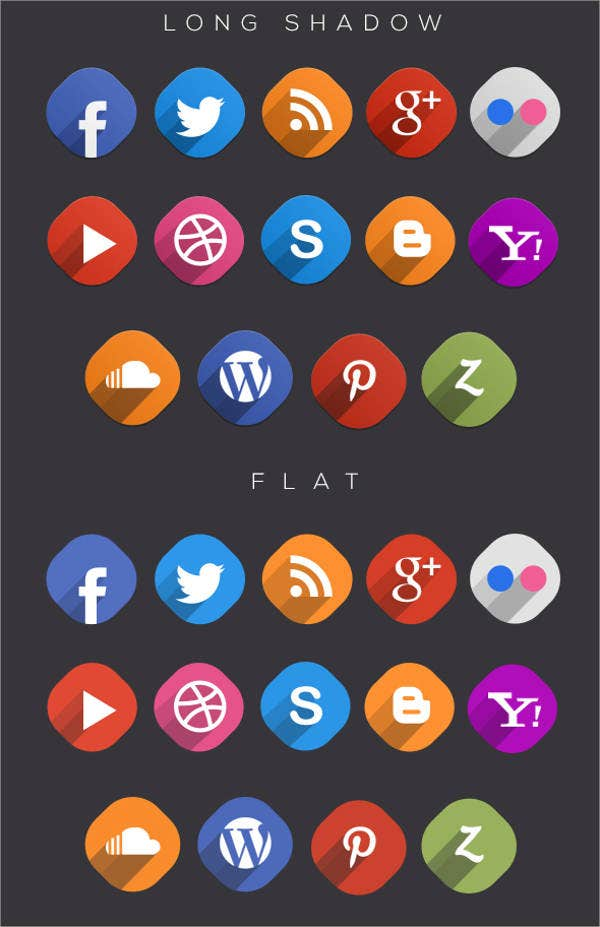 Long Shadow Free Social Media Icons