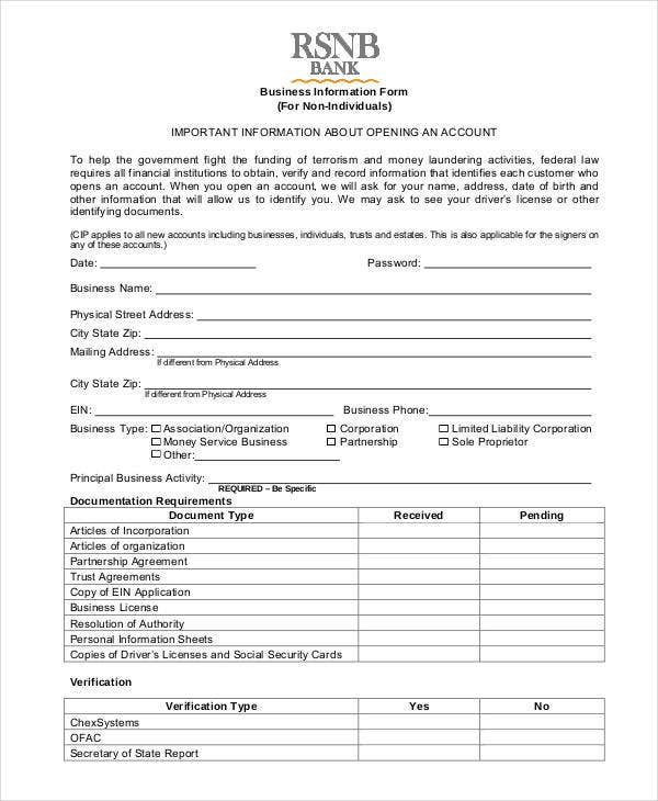 Business Information Form Template