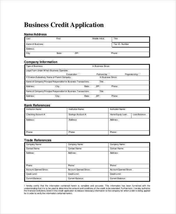 Business forms 8 free word pdf documents download free business credit application form template accmission Gallery