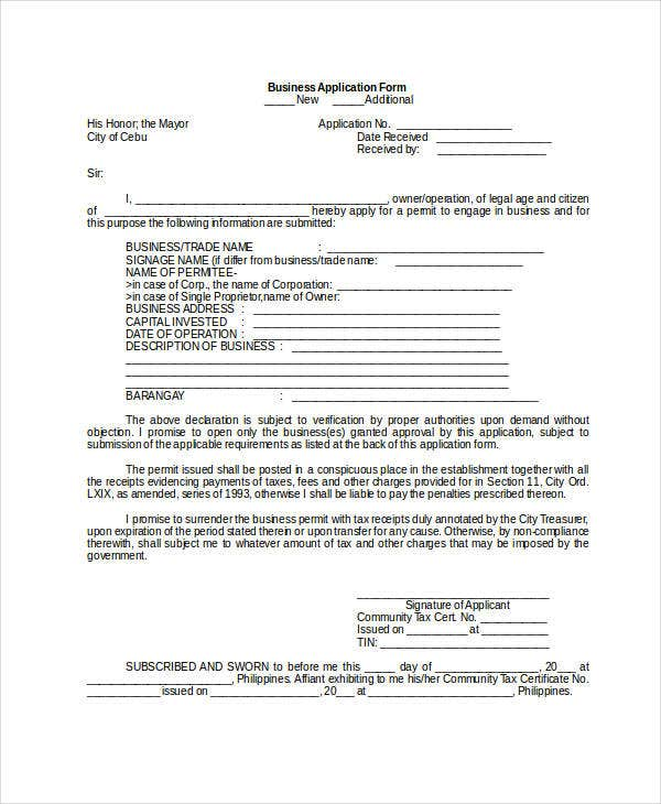 Business Application Form Template