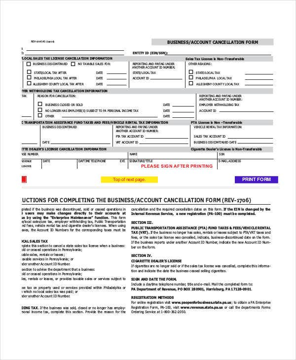 Business Account Cancellation Form Template