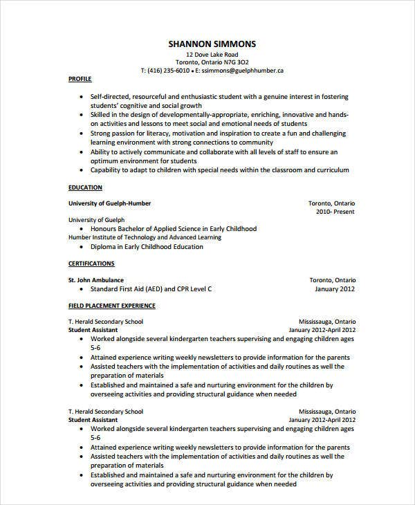 resume for teachers aide position