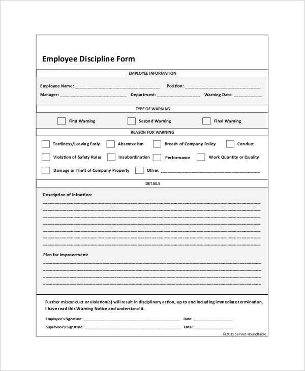 Employee Discipline Form 6 Free Word PDF Documents Download – Disciplinary Action Form