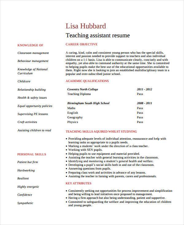 Resume format for teachers doc file altavistaventures Gallery