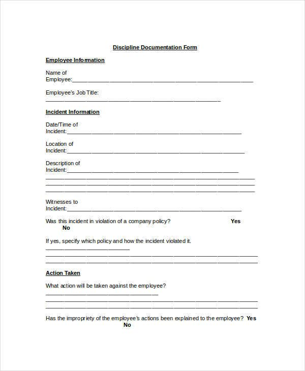 employee discipline documentation form