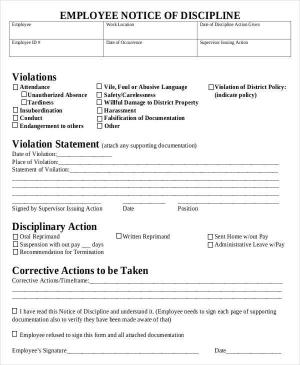 Employee Discipline Form   Free Word Pdf Documents Download