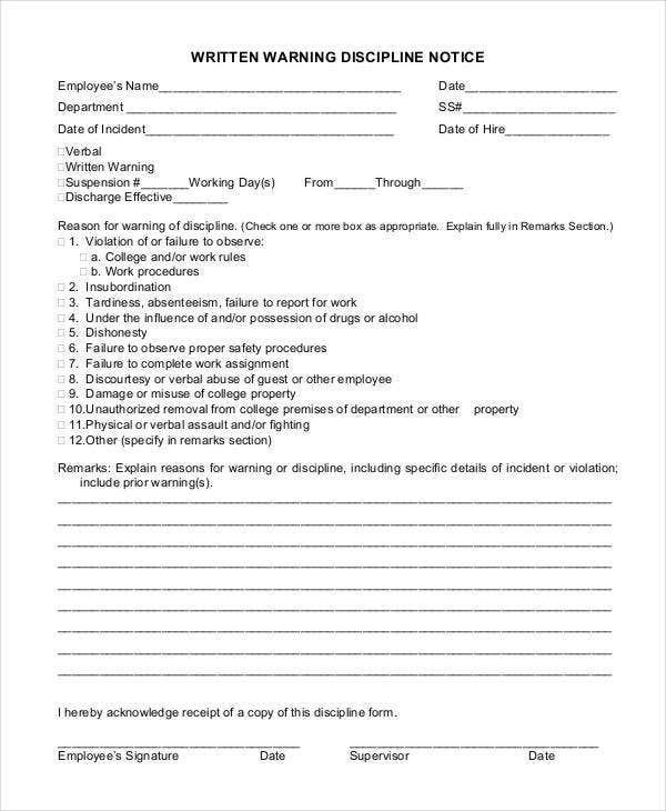 sample employee discipline notice form