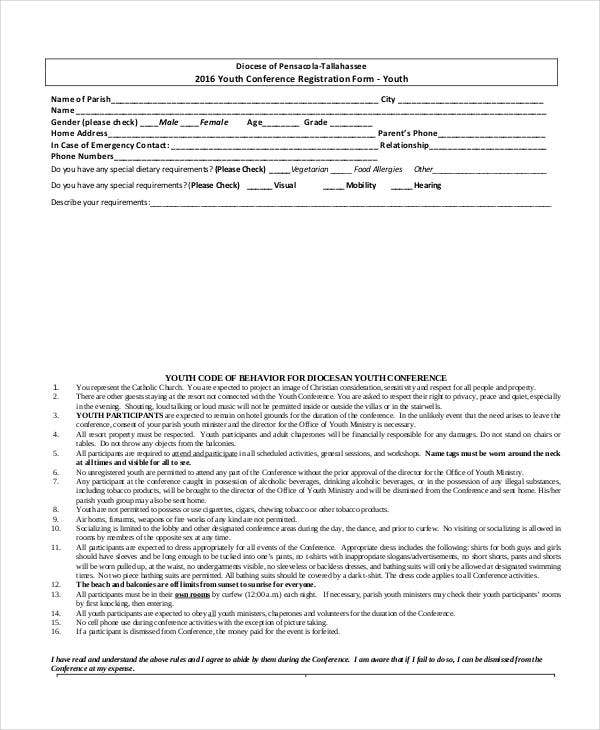 Attractive Youth Conference Registration Form Template Idea Paper Registration Form Template