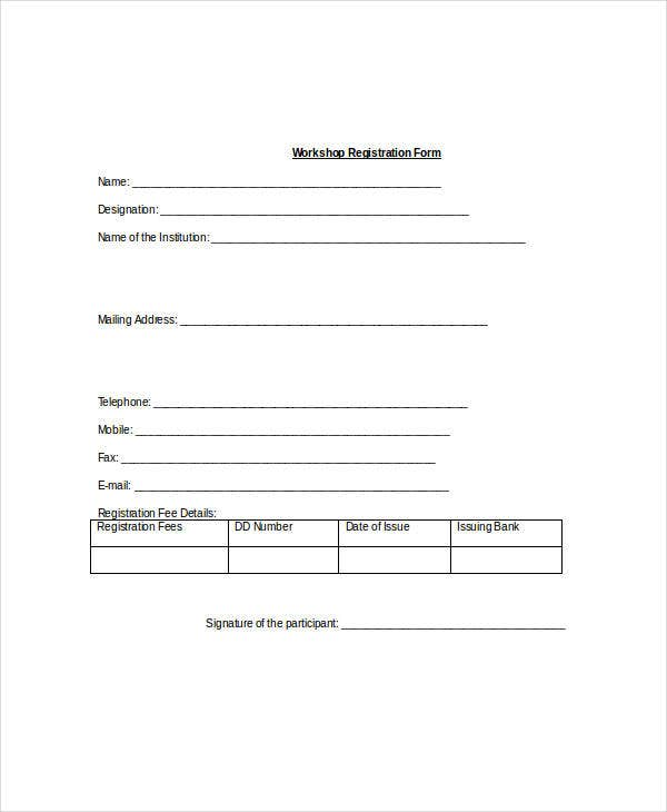 Workshop Registration Form Template  Enrolment Form Template