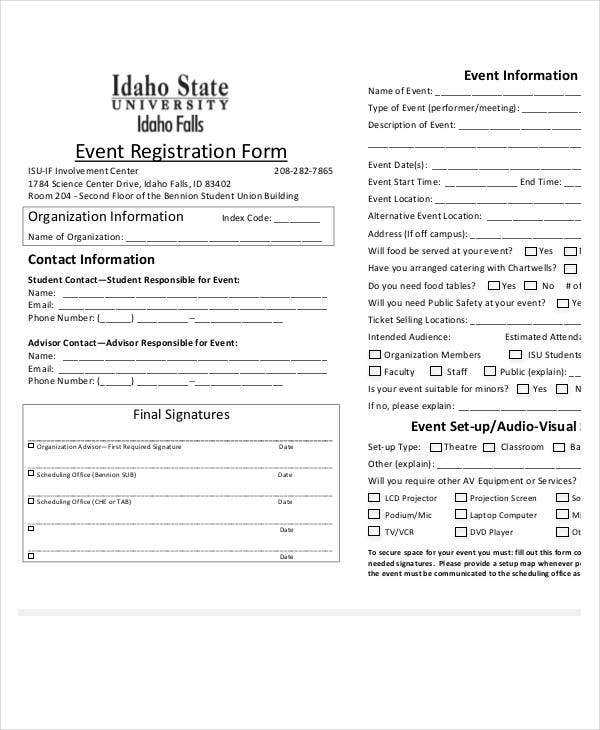 registration form for event template1