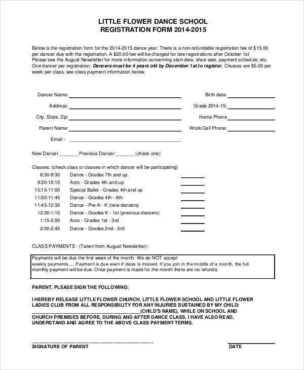 Registration form template 9 free pdf word documents for Dance school registration form template free