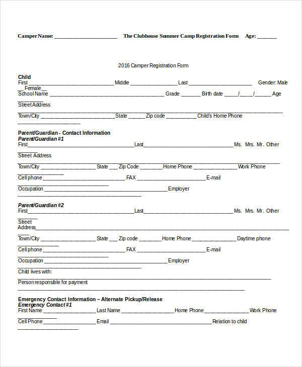 Registration form template 9 free pdf word documents download camp registration form template pronofoot35fo Image collections