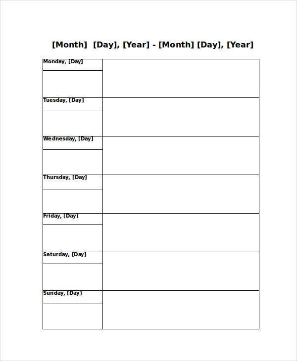 Blank Weekly Calendar   Free Pdf Word Documents Download  Free