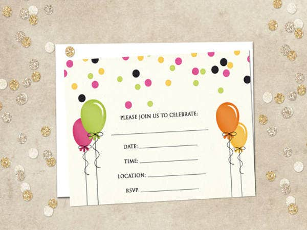 Birthday Party Blank Invitation
