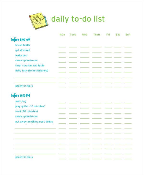 Daily To Do List For Kids  Daily To Do Template