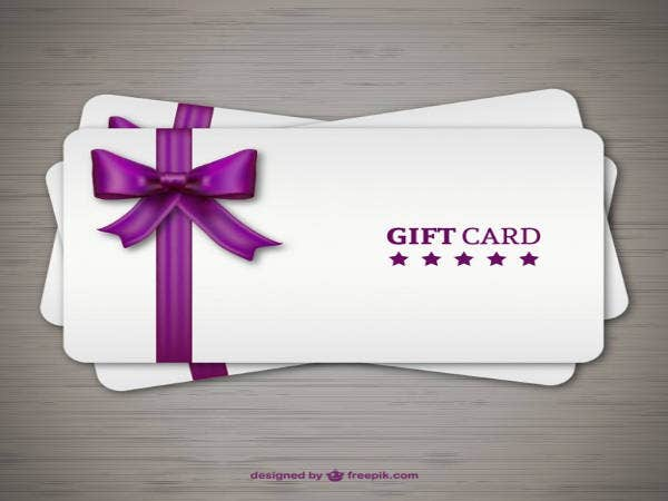 Free Gift Cards with Purple Ribbon
