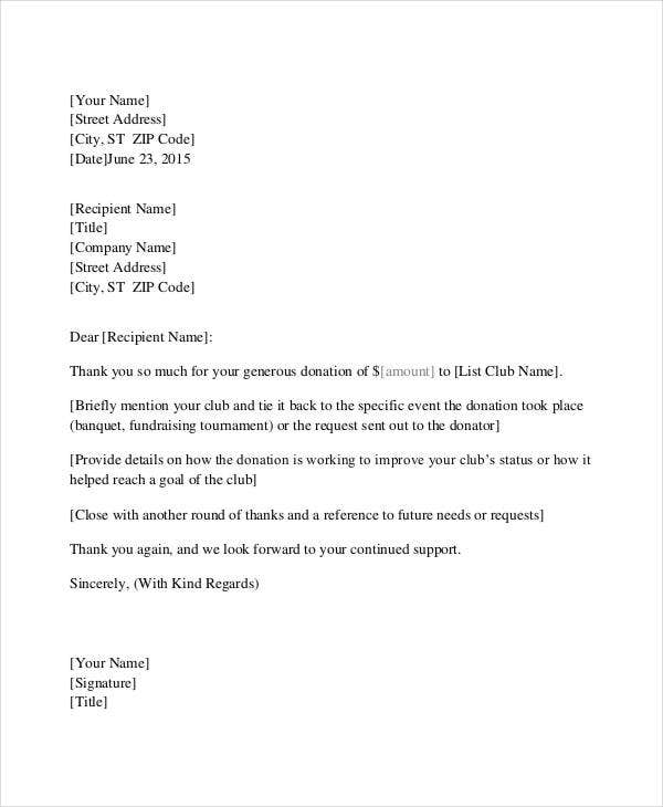 Donation Thank you Letter 6 Free Word PDF Documents Download – Thank You Letter for Donations