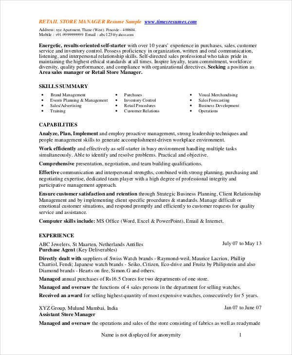 retail manager resume - Resume For Store Manager
