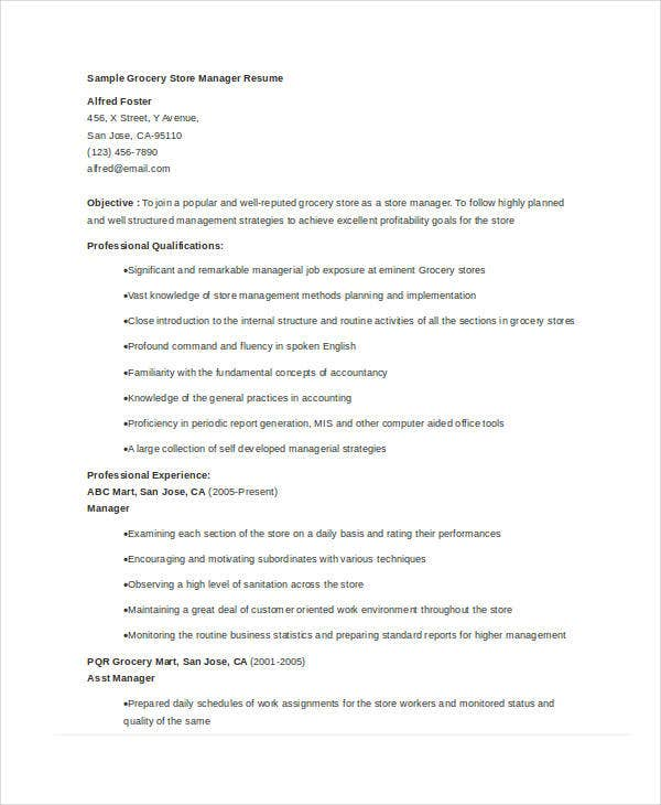 Store Manager Resume 9 Free Pdf Word Documents Download