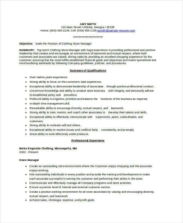 Clothing Store Manager Resume  Grocery Store Resume